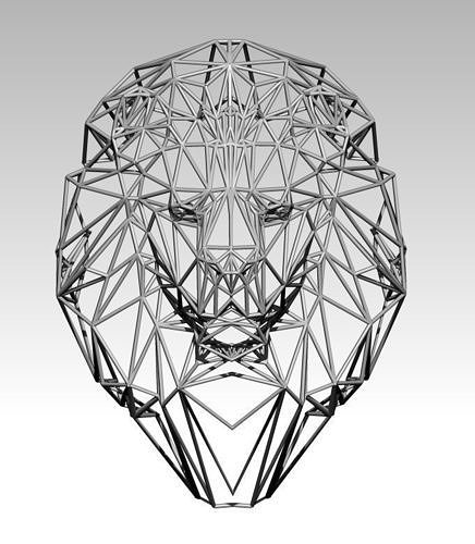 wall decor lion head wareframe  3d model obj mtl stl 1