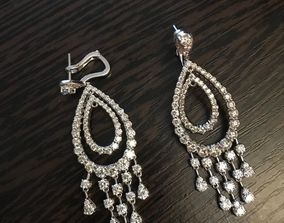 diamant 3D printable model Earrings pear drop