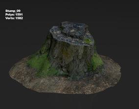 3D model VR / AR ready Photoscanned stump 09