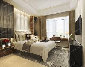 interior luxury modern bedroom suite in hotel 3D model