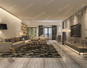 home modern living room and dining room 3D