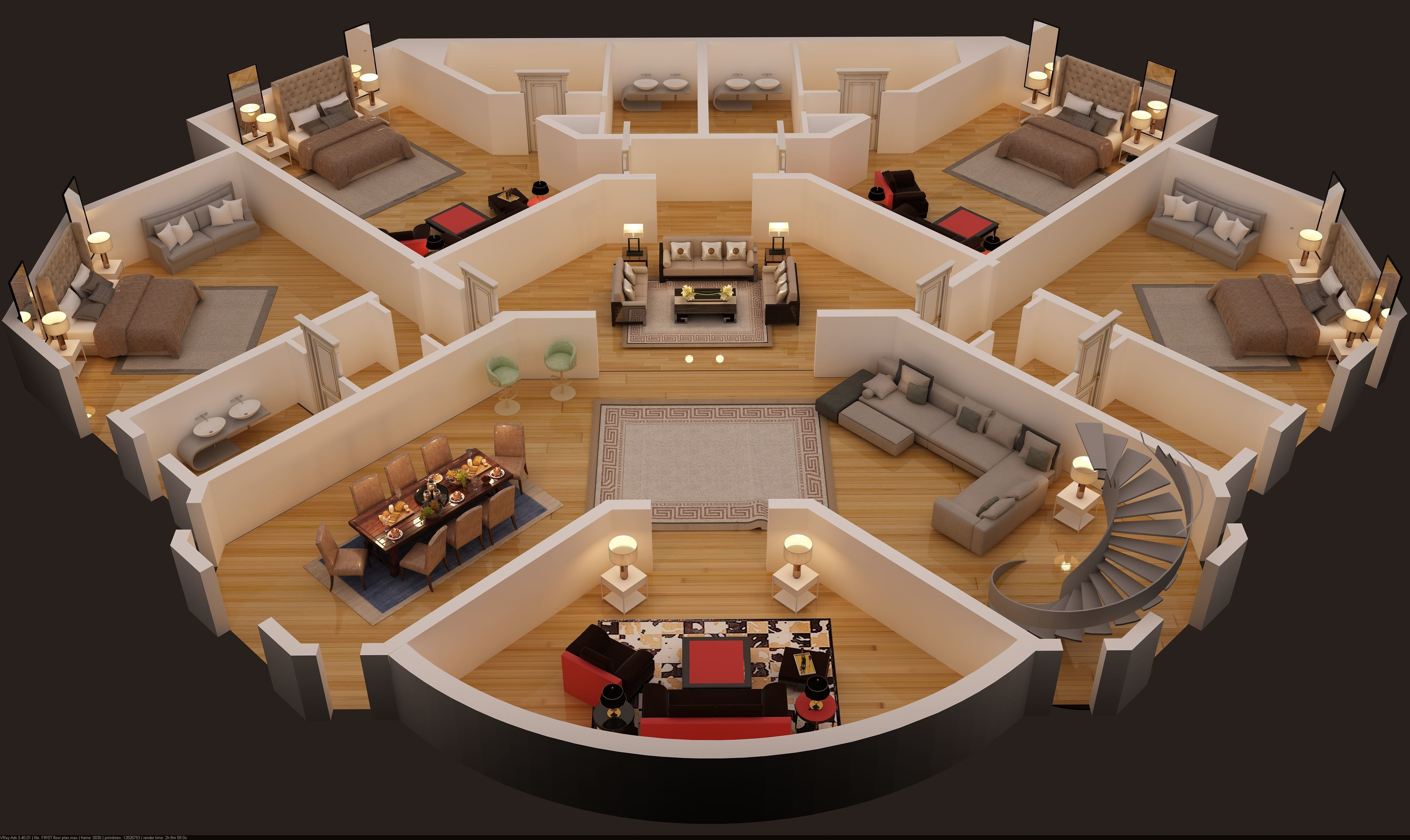 floor plan of first floor luxury house