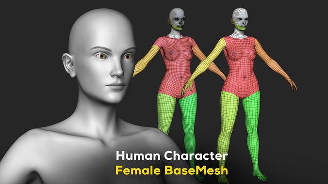 human character female basemesh - woman body 3d model max obj mtl fbx ztl 1