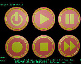 Low poly player buttons 2 3D asset