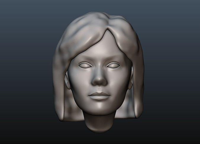 female head 3 3d model obj mtl fbx stl blend 1
