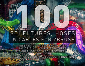 Sci-Fi Tubes Hoses and Cables 100 Pieces 3D asset