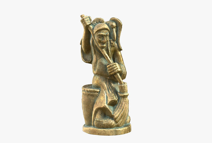 baba yaga bronze sculpture 3d model low-poly max obj mtl fbx 1
