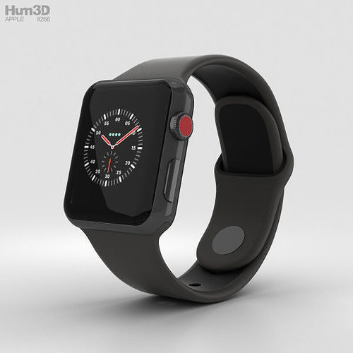 apple watch edition 3 38mm gps ceramic gray black sport band 3d model max obj mtl 3ds fbx c4d lwo lw lws 1