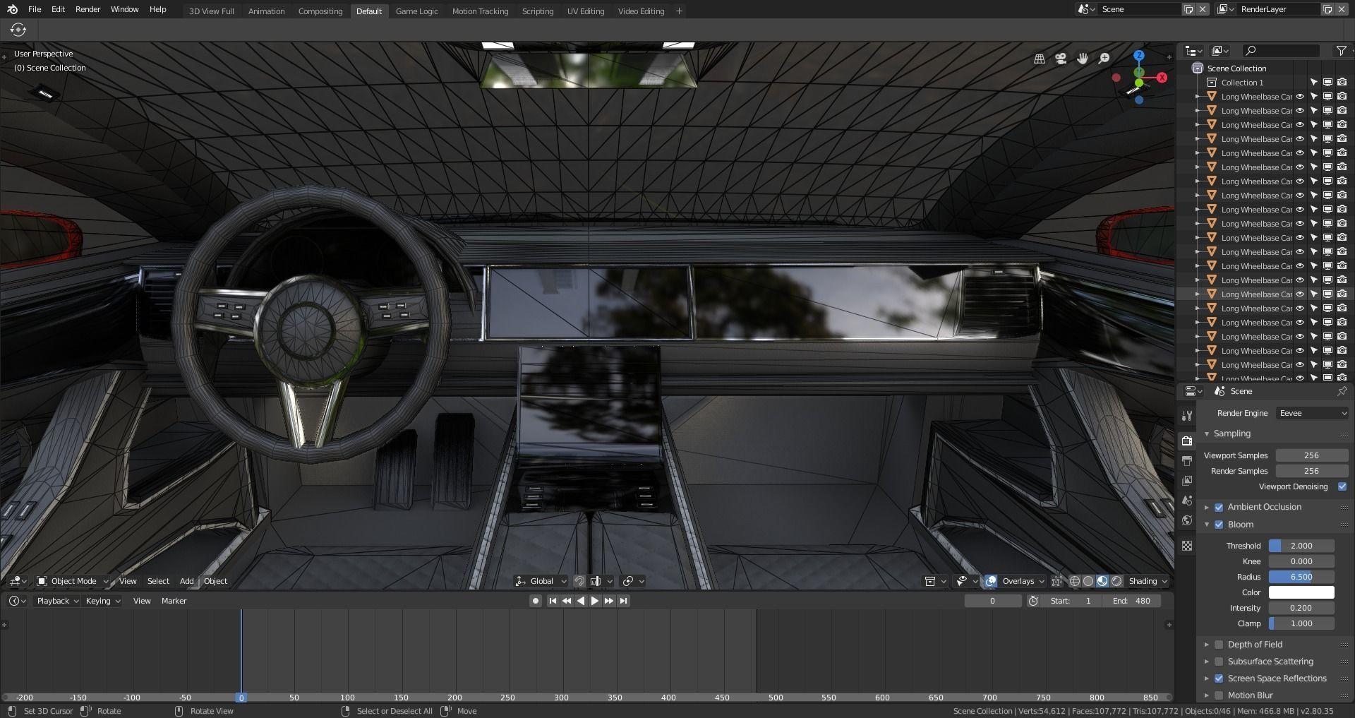 BLENDER EEVEE Brandless Extended Wheelbase 2 door coupe | 3D model