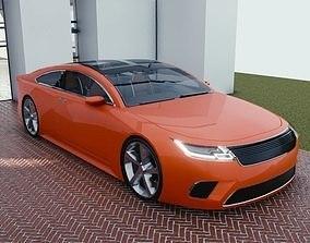 3D model BLENDER EEVEE Brandless Mid Size 2 door coupe