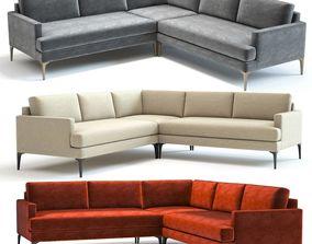 3D West Elm Andes L-Shaped Sofa
