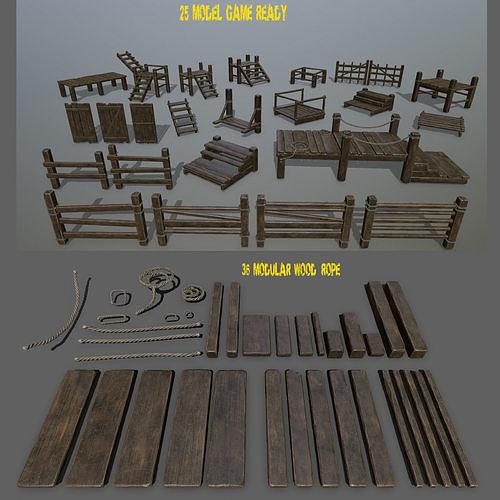 woods and  ropes  3d model low-poly obj mtl fbx blend 1