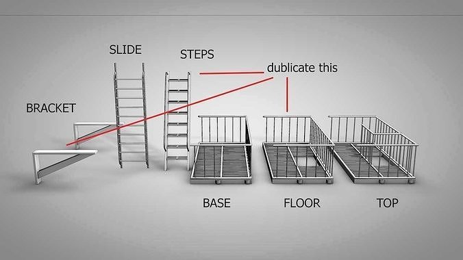 lowpoly-nyc-fire-escape-ladder-3d-model-