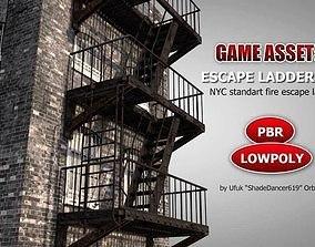 NYC Fire Escape Ladder 3D asset