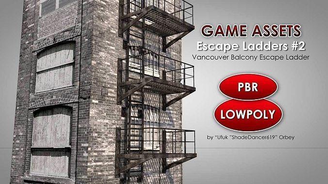 balcony fire escape ladder 3d model low-poly max obj mtl 3ds fbx c4d dae 1