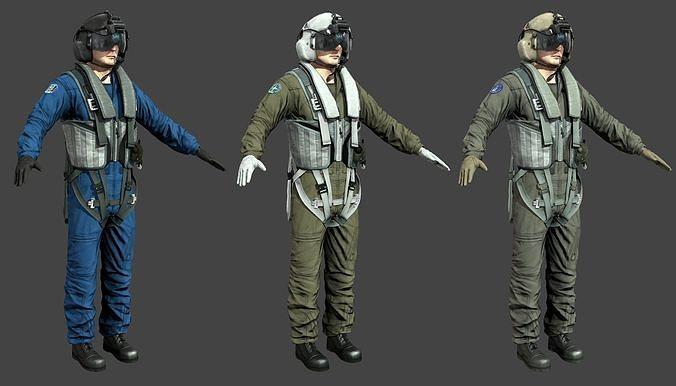 chinse russian us pilots 3d model max fbx tga 1
