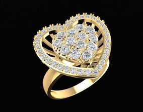 1472 Diamond Heart Ring 3D print model