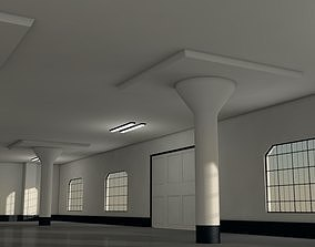 Warehouse hall 3D model game-ready
