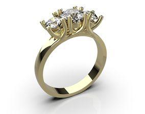 3D printable model 3 Stone Ring - Engagement