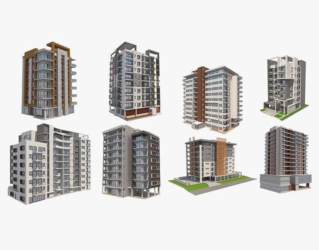 8 apartment buildings set 1 3d model max obj mtl 3ds fbx c4d ma mb 1