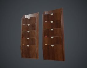 3D asset Wooden Wall File Holder PBR Game Ready