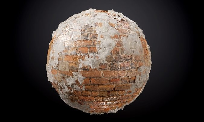brick wall sloppy concrete seamless pbr texture 3d model obj mtl 1