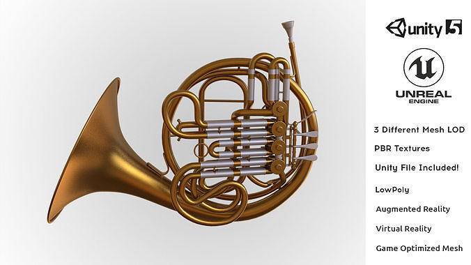 photorealistic high quality majestic classic french horn 3d model low-poly obj mtl fbx ma mb unitypackage prefab 1