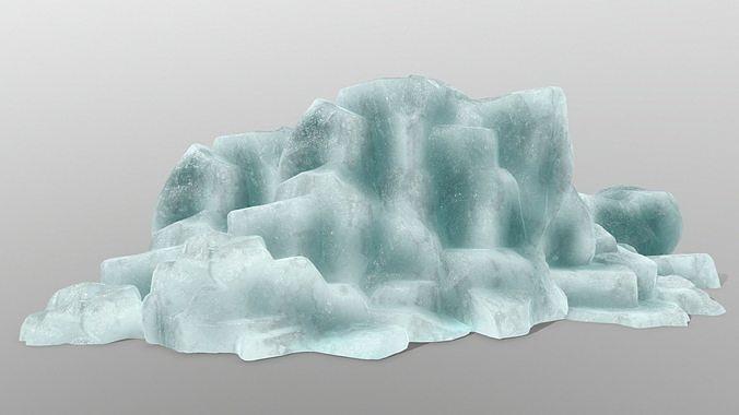 ice rocks 3d model low-poly obj mtl fbx blend 1