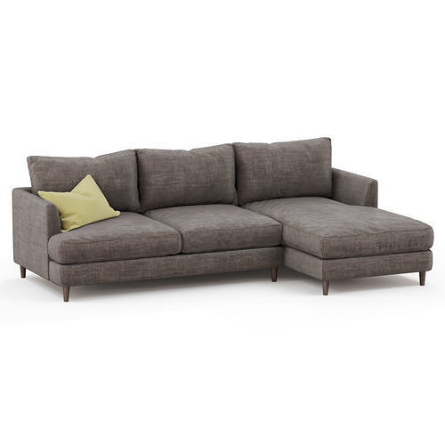 corner sofa fabric with yellow pillow 3d model max obj mtl fbx c4d 1