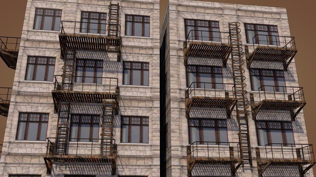 Caged Fire Escape Ladder Model Low Poly Max Obj Mtl S Fbx C4d Dae