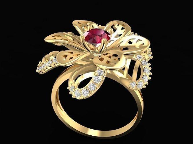 1487 diamond flower ring 3d model stl 3dm 1