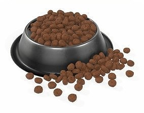 3D model dog food bowl with food 2