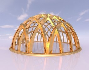Architectural dome with contours in grid 3D