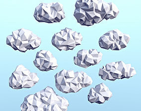 3D model Clouds Low Poly 3