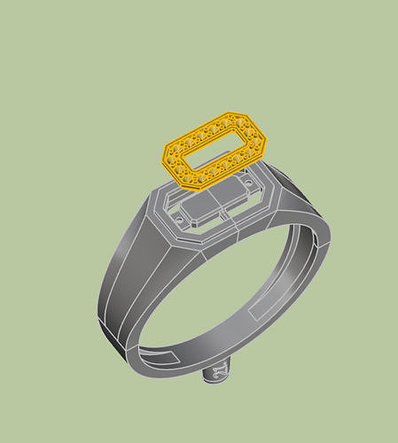 mans  stylish seal  ring with stones 3d model stl 3dm 1