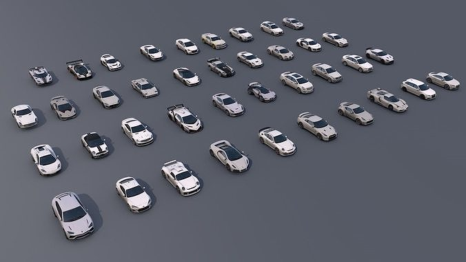 pack of sports cars low poly game ready 3d model obj mtl 3ds fbx stl dae unitypackage prefab 1