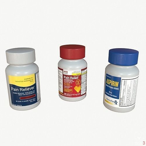 pain reliever aspirin pill box 3d model obj mtl fbx stl blend abc 1