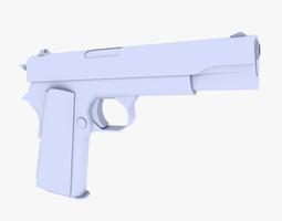 colt 45 m1911 pistol low-poly 3d model