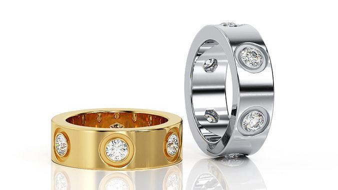 ring band r ba 0037 3d model obj mtl 3ds stl 3dm 1