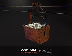 Mine historic ropeway conveyor - mine wagon 3D asset