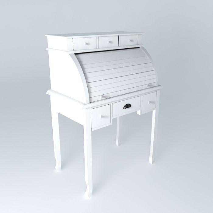 Secretary newport maisons du monde 3d model max obj 3ds for Armoire newport maison du monde