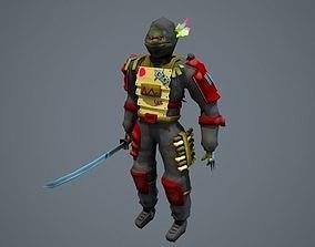 3D asset Low poly stylized fantasy ninja character model