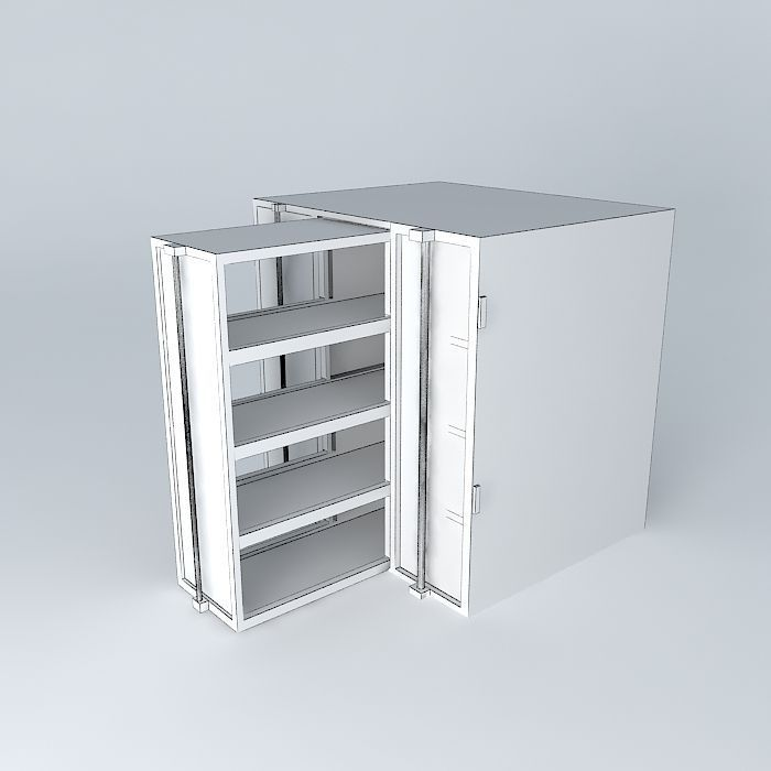 3d Model Furniture Showcase Kitchen With Two Glass Doors And A S