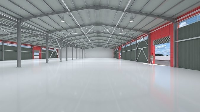 industrial hangar shed with detailed metal structure  3d model max obj mtl fbx 1