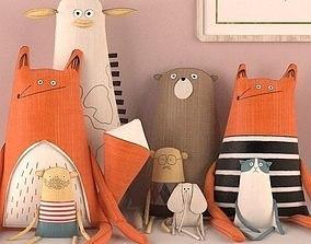 3D Textile toys giraffe fox men oldmen elephant