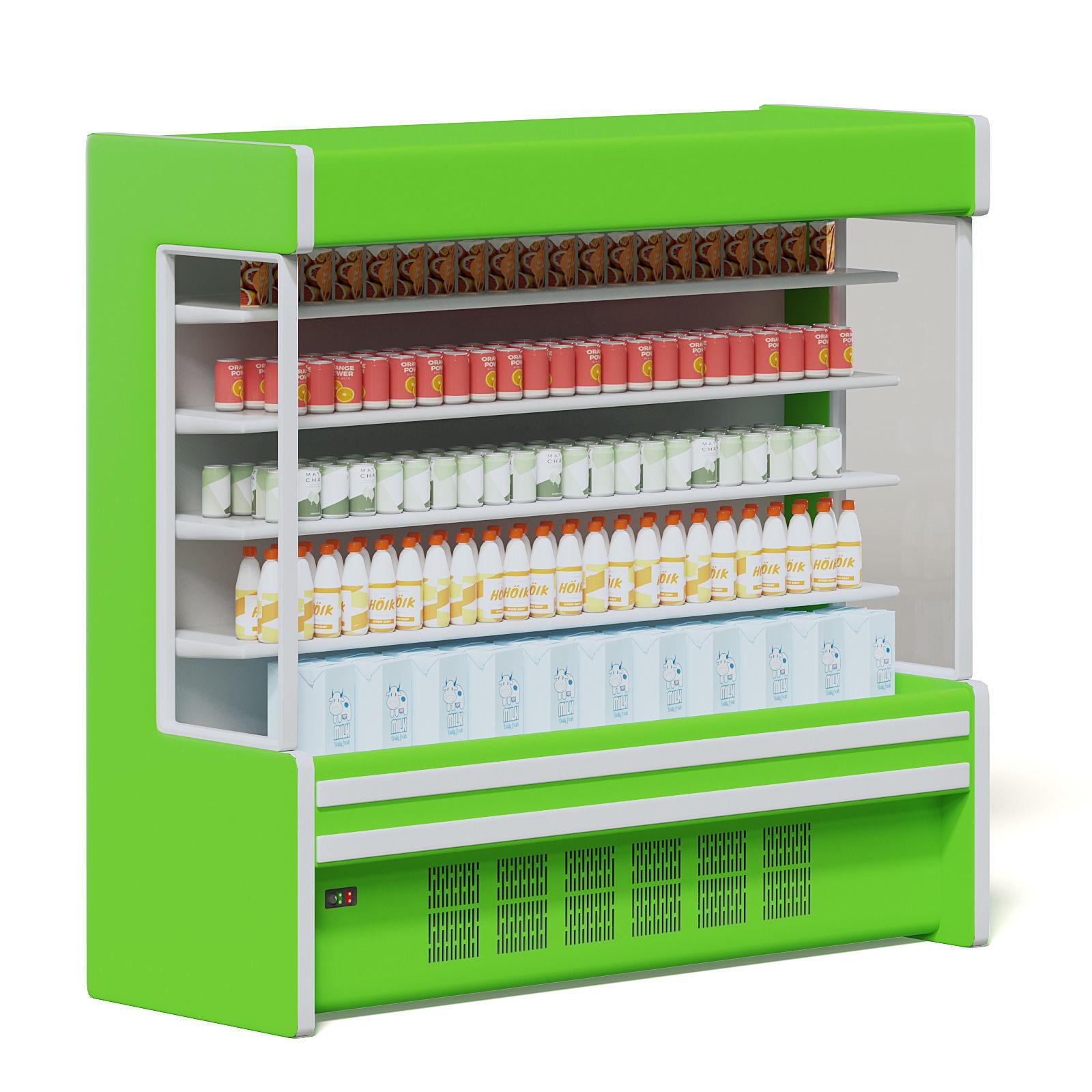 Green Market Fridge 3D Model