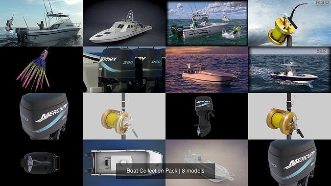 boat collection pack 3d model max obj mtl 3ds fbx c4d stl 1