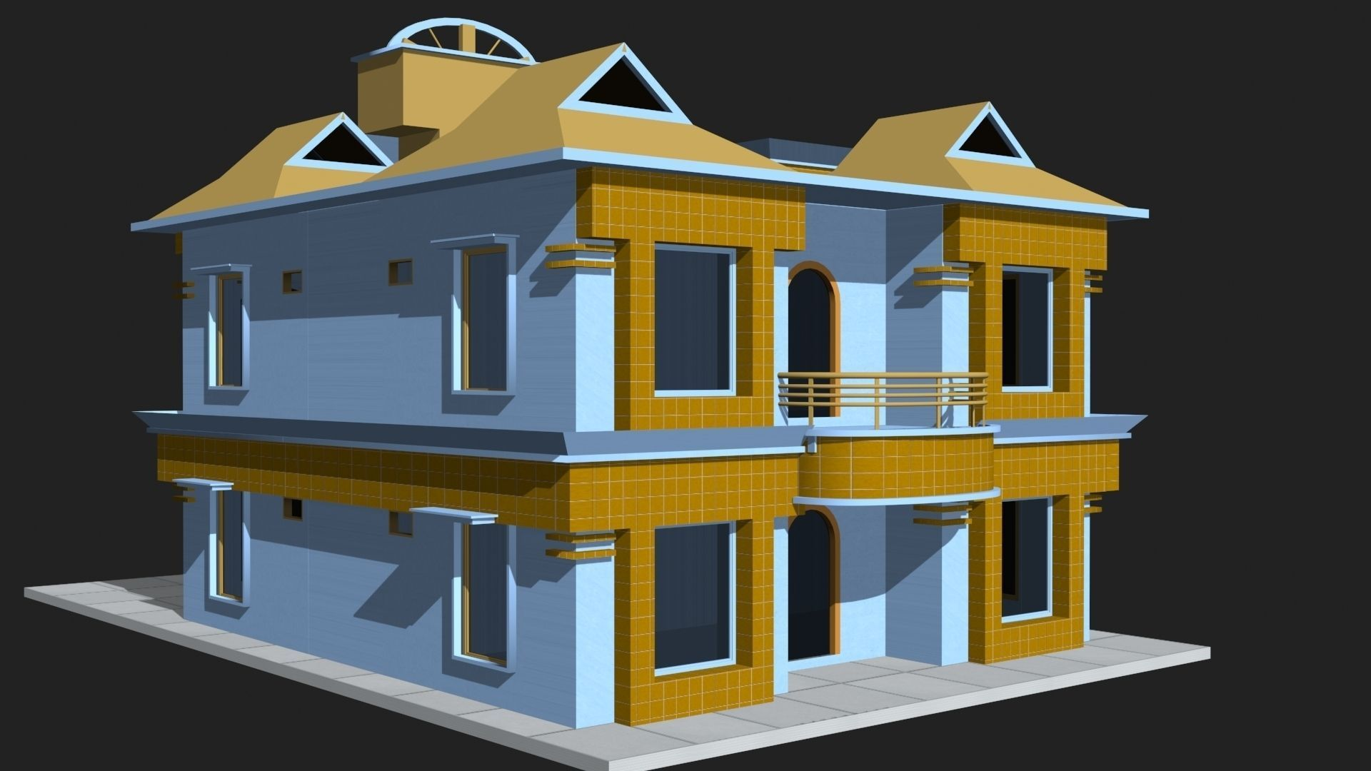 3d model 3d house building vr ar low poly