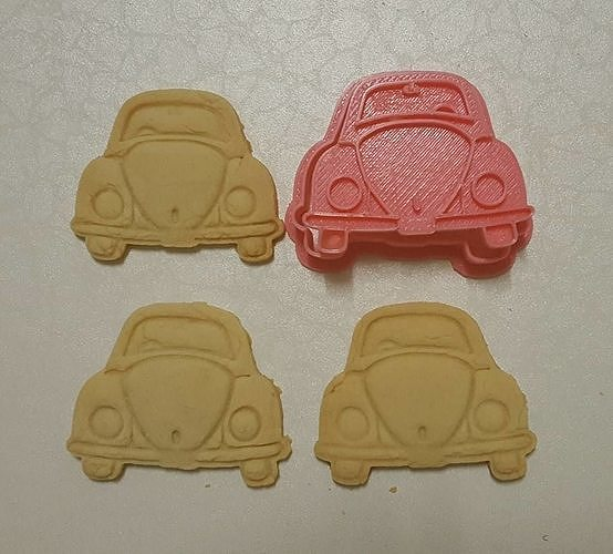 volkswagen classic car cookie cutter and stamp 3d model stl 1