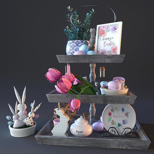 happy ester decorative set 3d model max obj mtl fbx 1